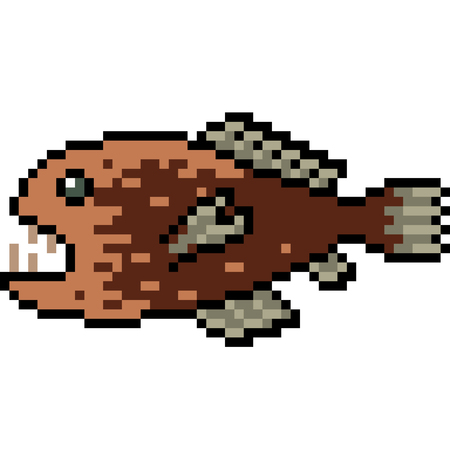 vector pixel art deep sea fish isolated