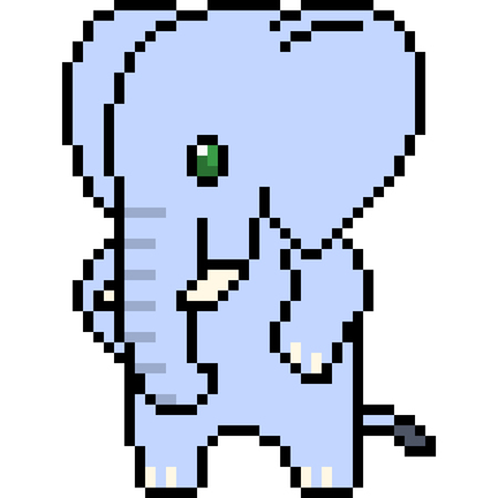 vector pixel art elephant isolated