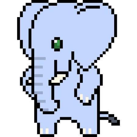 vector pixel art elephant isolated