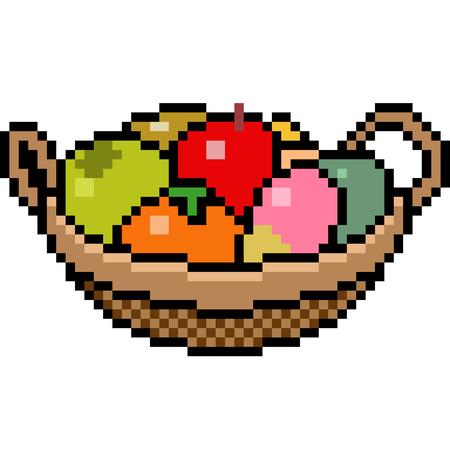 vector pixel art basket fruit isolated