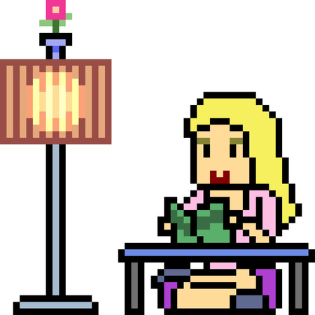 vector pixel art woman reading book isolated Ilustrace