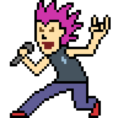 vector pixel art rock singer isolated