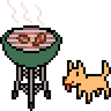 vector pixel art grill food isolated