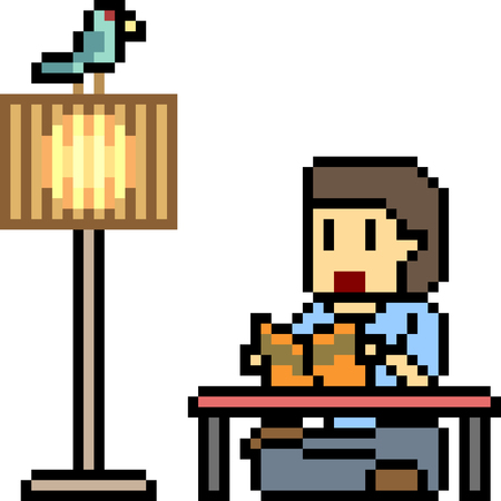 vector pixel art man reading book isolated