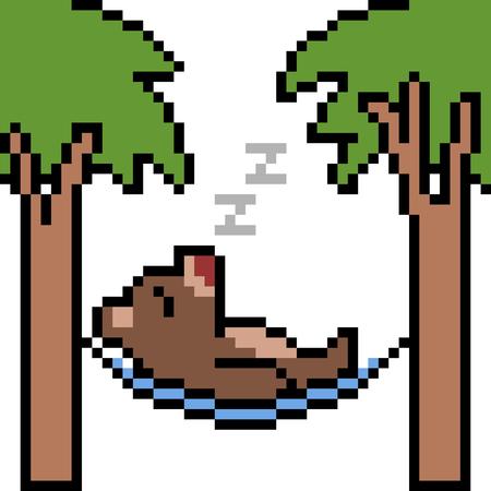 vector pixel art hammock sleep isolated