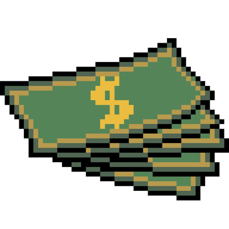 vector pixel art money isolated