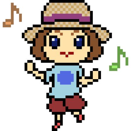 vector pixel art kid dance isolated