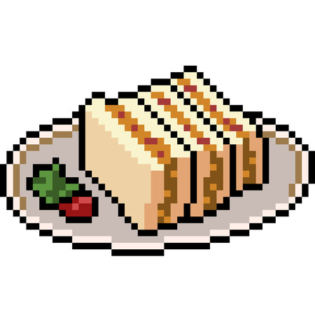 vector pixel art food sandwich isolated