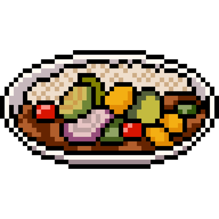 vector pixel art asian food isolated Illustration
