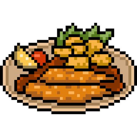 vector pixel art batter fried steak isolated