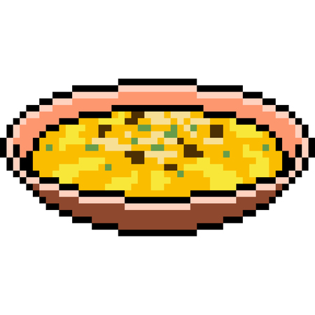vector pixel art cream soup food isolated