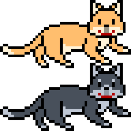 vector pixel art cat pet isolated Ilustrace