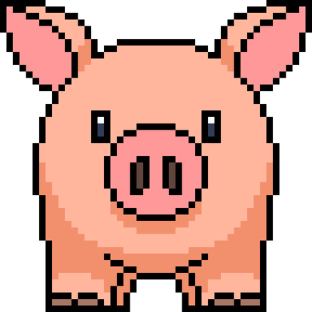 vector pixel art pig isolated Illustration