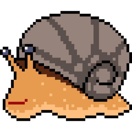 Vector pixel art snail isolated