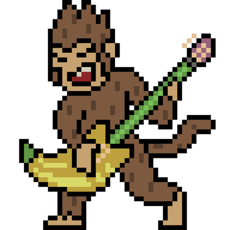 Pixel art monkey play guitar
