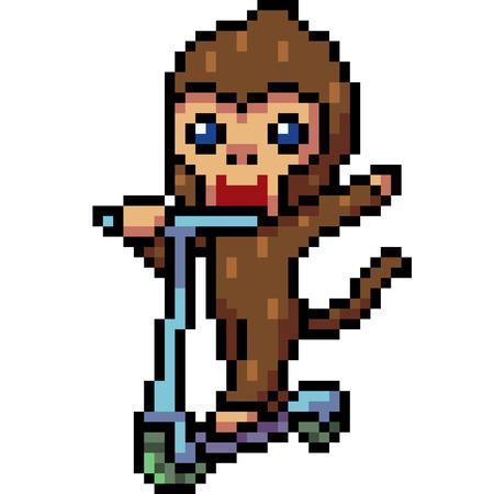 vector pixel art monkey playing isolated Illustration
