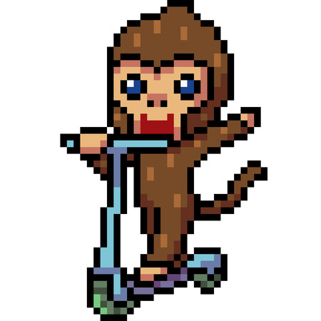 vector pixel art monkey playing isolated Иллюстрация