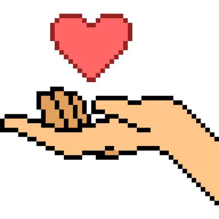Vector pixel art hand gesture love isolated