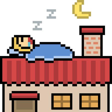Vector pixel art roof sleep isolated