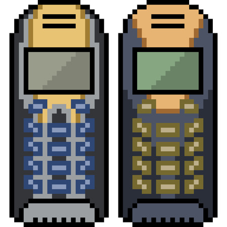 Vector pixel art old mobile phone isolated
