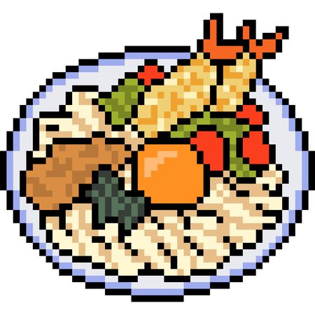 Vector pixel art food isolated