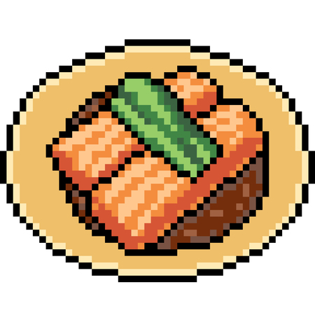 Vector pixel art Asian food isolated