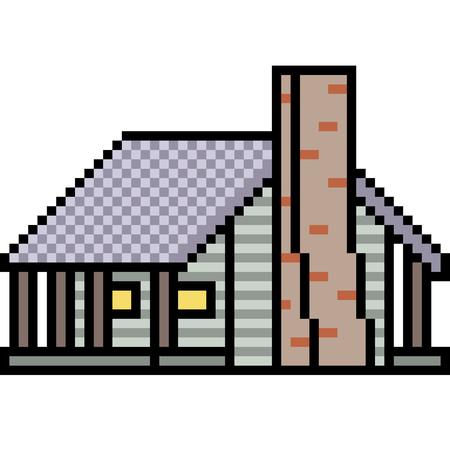 Vektor Pixel Kunst ländlichen Haus isoliert Standard-Bild - 95243039