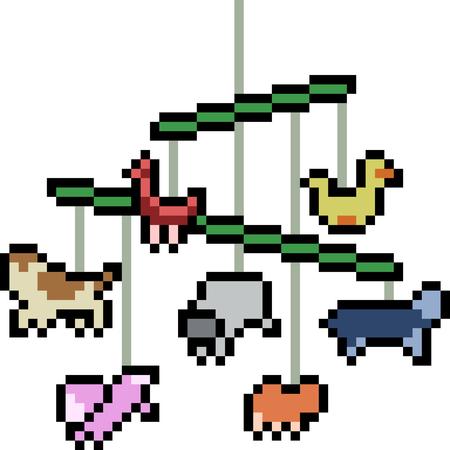 vector pixel art animal mobile isolated Illustration