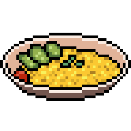 vector pixel art food curry rice isolated