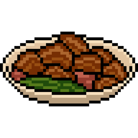 vector pixel art food meat soup isolated