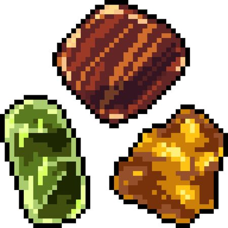 vector pixel art gemstone set isolated