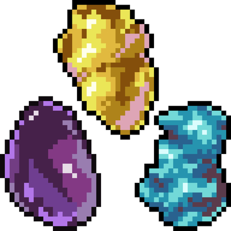 Vector pixel art gemstone set isolated Vectores