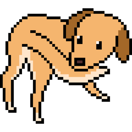 Vector pixel art dog play tail isolated Illustration