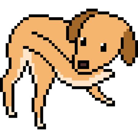 Vector pixel art dog play tail isolated Stock Illustratie