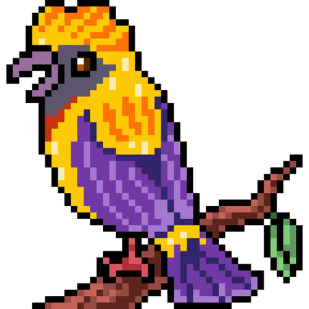Vector pixel art beautiful bird isolated Illustration