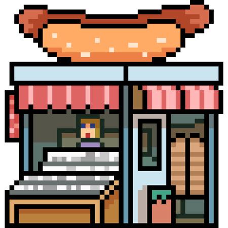 Vector pixel art building shop isolated Illustration