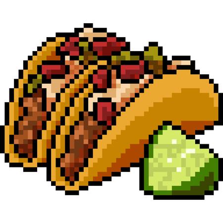 vector pixel art food taco isolated
