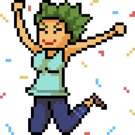 vector pixel art happy woman isolated