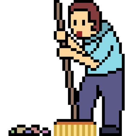 Pixel art janitor isolated on white background vector. Çizim