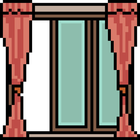 Pixel art of door window with curtains isolated on white background.