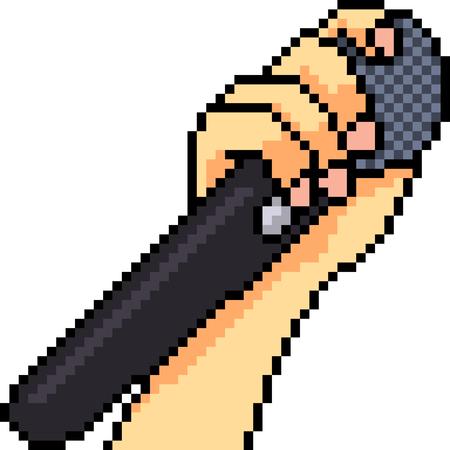 vector pixel art microphone isolated cartoon Çizim