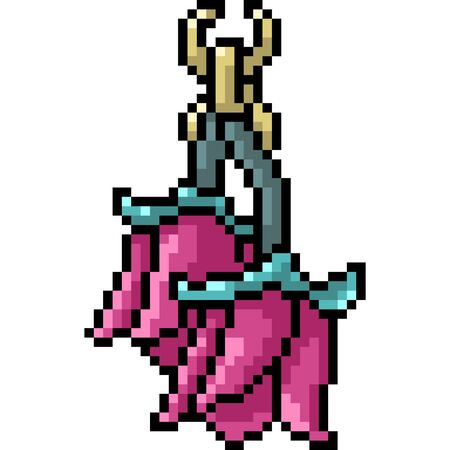 vector pixel art flower earring isolated cartoon