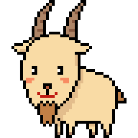 vector pixel art goat isolated cartoon