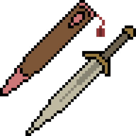 vector pixel art knife isolated cartoon