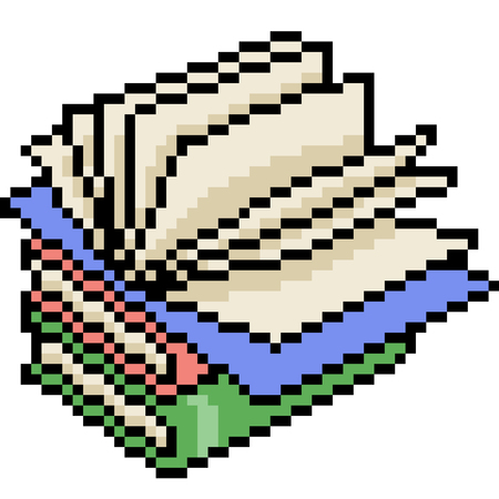 vector pixel art book open isolated cartoon