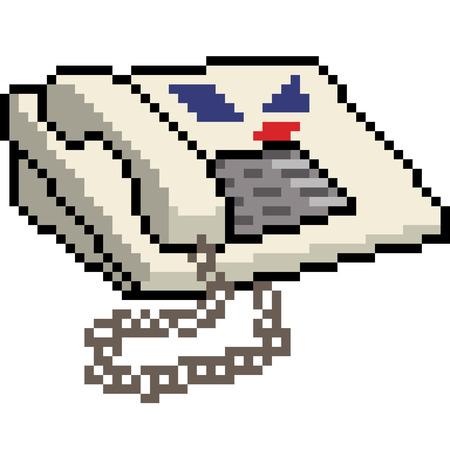 vector pixel art old telephone isolated cartoon