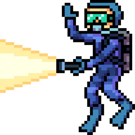 vector pixel art diver isolated cartoon