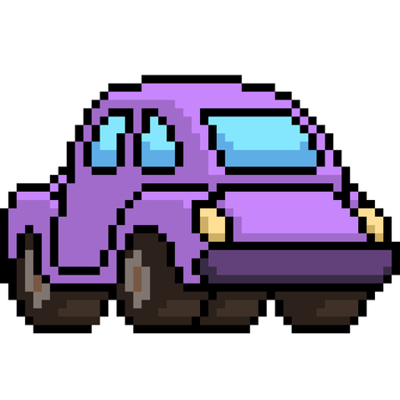 vector pixel art beetle car back isolated cartoon