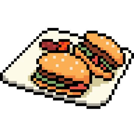 vector pixel art burger dish isolated cartoon
