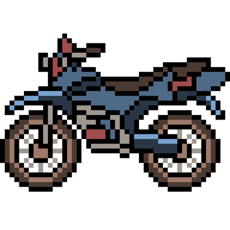 vector pixel art motorcycle side isolated cartoon